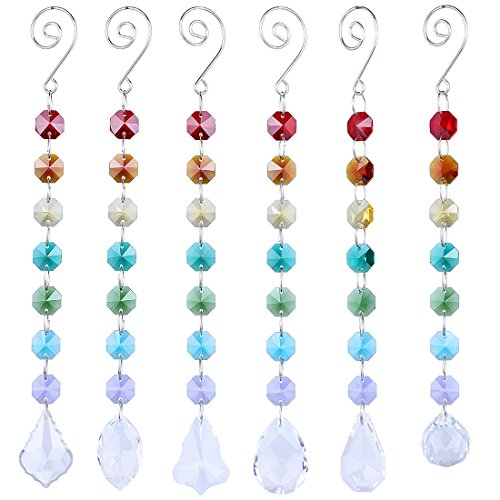 Glass Bead Ornament - H&D Crystal Glass Suncatcher Chakra with Multi Octagon Beads Window Hanging Ornament Prism Rainbow Suncatcher,Pack of 6