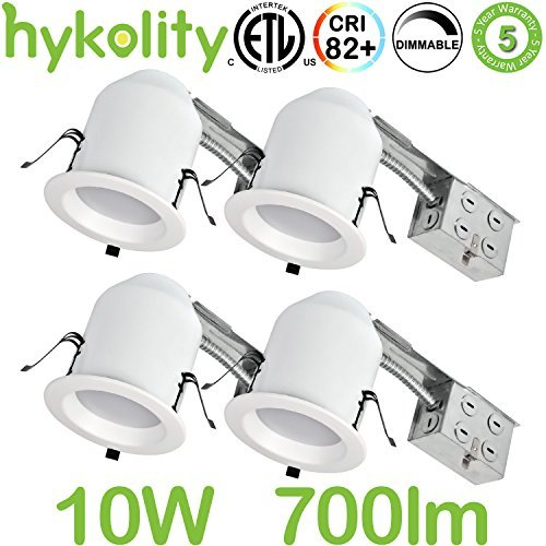 - Hykolity 4 Inch LED Recessed Downlight Kit, 10W 700lm 5000K Daylight Dimmable Remodeling LED downlight kit, 120V-277V, Airtight& IC Rated Wet Location, ETL&Energy Star- 4 Pack