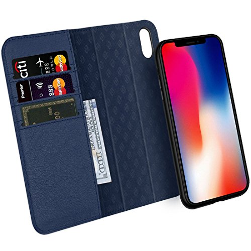 Price comparison product image Zover iPhone Xs / X Case Detachable Genuine Leather Wallet Case Support Wireless Charging Magnetic Car Mount Holder Kickstand Feature Magnetic Closure Gift Box Navy Blue