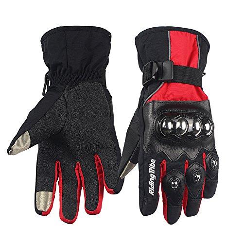 UPBIKE Alloy Steel Knuckle Motorcycle Waterproof Gloves Motorbike Racing Winter Skiing Snowboard Gloves (XL, RED BLACK)