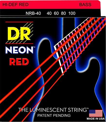 DR Strings Hi-Def NEON Red Coated Lite Bass Strings (Pink Bass Strings)