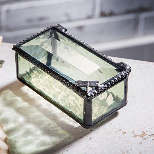 J Devlin Box 178 Mini Dragonfly Trinket Box Keepsake Jewelry Box Pale Green Stained Glass Decorative