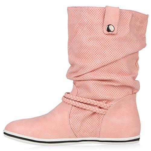 Bequeme Damen Stiefel Schlupfstiefel Lochungen Flache Boots Leder-Optik Metallic Schuhe Flandell Rosa