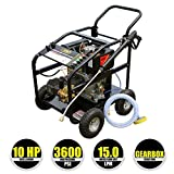 Kiam KM3600DXR 10hp Industrial Diesel Pressure Washer with GEARBOX REDUCTION (3600PSI @ 15 Ltr/Min) High Jet Power Driveway Patio Car Block Paving Cleaner by Kiam Power Products