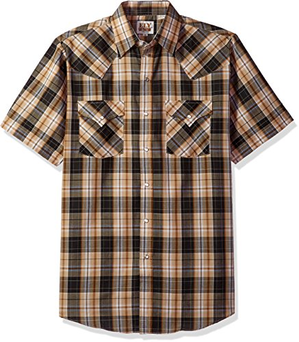 Ely & Walker Men's Short Sleeve Plaid Western Shirt, Black, Medium (Walker Snap Black)