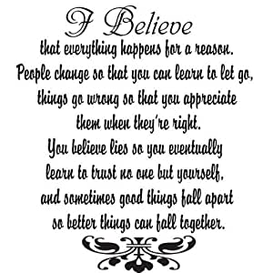 Newsee Decals I Believe Black Vinyl Wall Quote Decal