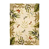 Homefires Butterflies & Dragonflies Beige 8'x10' Contemporary Area Rug
