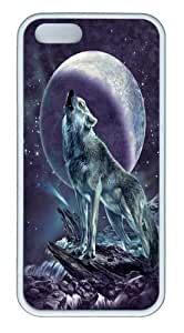 iPhone 5S Case,Moon Soloist Wolf Custom TPU Soft Case Cover Protector for iPhone 5/5S White wangjiang maoyi