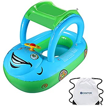 Geekper Baby Pool Float With Sun Canopy for the Age 6-36 Months with Storage Bag - Baby Infant Swimming Toy