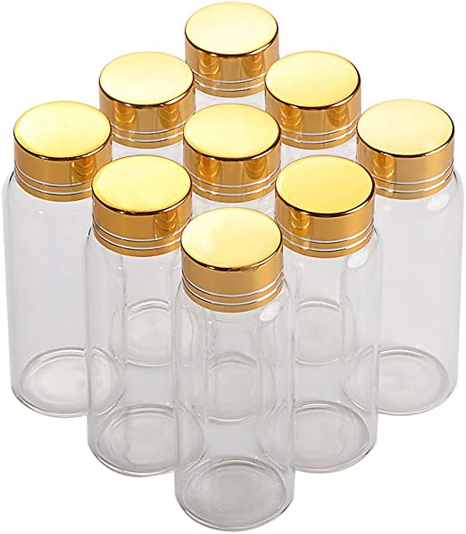 27mm Clear Glass Bottle Aluminum Screw Cap Container Borosilicate Vial Empty