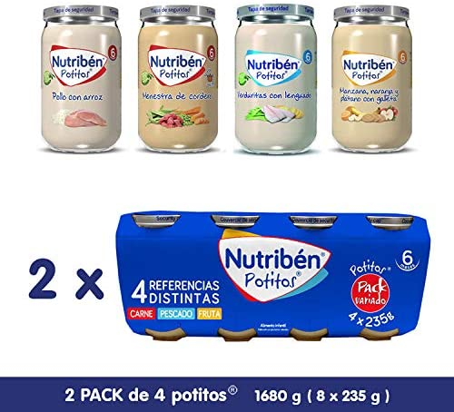 Nutribén Nutribén- Packs De Potitos Variados De Carne, Pesacdo Y Fruta (2X4) 8X235 Gr. 8 Unidades 1880 g: Amazon.es: Alimentación y bebidas