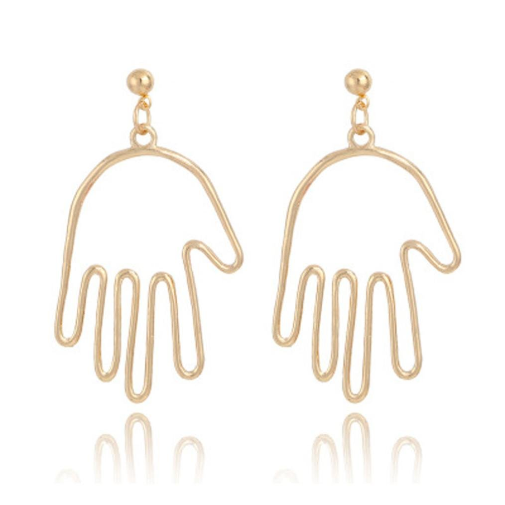 Becoler Big Hollow Earrings Fingers Shape Earrings
