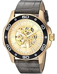 Invicta Mens Specialty Mechanical Hand Wind Gold-Tone and Leather Casual Watch, Color:Grey (Model: 17262)