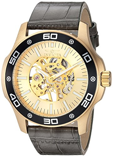 Invicta Men's Specialty Mechanical-Hand-Wind Watch with Leather Calfskin Strap, Grey, 24 (Model: 17262)
