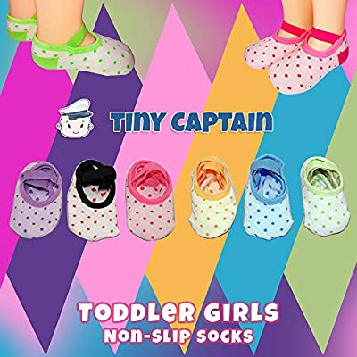 Toddler Girl Baby Grip Socks Gift for 1-3 Year Old Girls, Anti Slip Grip Non Skid Sock with Strap Best Age 1 Gifts 12-24 Month from Tiny Captain (Pink, Blue, Green, Yellow, Purple, White)