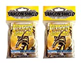 Dragon Shield Bundle: 2 Packs of 50 Count Japanese Size Mini Card Sleeves - Gold Color