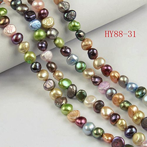 HYBEADS Natural Cultured Freshwater Pearl Beads,a Grade ,Mixed Color, 6-7mm, Great for Jewelry Making ,Loose Beads 88-31 ()