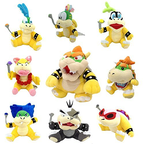 One Set of 9 Super Mario Bros Plush Toy King Bowser Baby Bowser Jr Kids Koopalings Koopa Larry Iggy Lemmy Roy Ludwig Wendy Morton by Generic (Mario And Luigi Superstar Saga All Bosses)