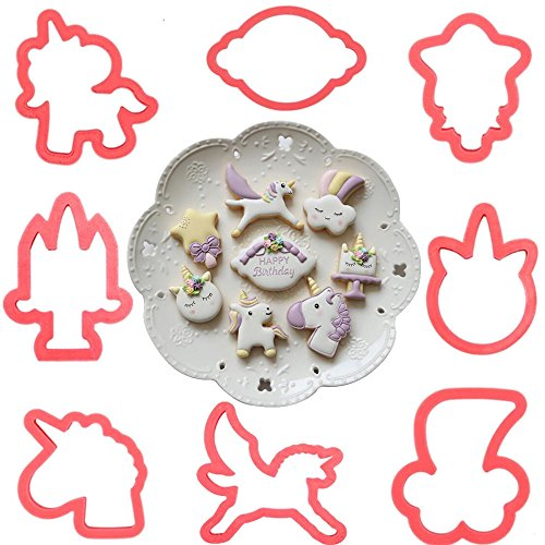 (Set of 16)8pcs The Easiest Fantasy Unicorn Sugarcraft Cookie Cutter Set,with 8pcs Printing mould,Include Unicorn Head, Unicorn,Bless photo frame,Magic Wand and clouds (Cookie Wand)