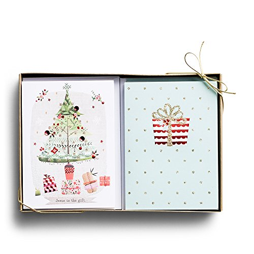 Gift Scripture Boxed Cards (Christmas Boxed Cards - Fun Christmas Tree - Gifts - 24 Card Dual Pack)