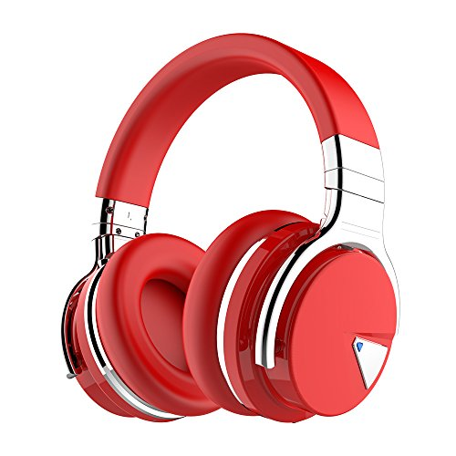 COWIN E7 Active Noise Cancelling Bluetooth Headphones with Microphone Deep Bass Wireless Headphones Over Ear, Comfortable Protein Earpads, 30H Playtime for Travel Work TV Computer IPhone - Red by cowin