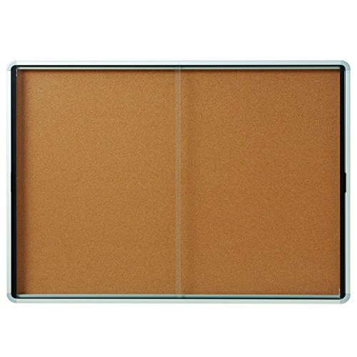 Quartet Enclosed Cork Bulletin Board, 56'' x 39'' or 18 Sheets, 2 Sliding Doors, Aluminum Frame (EISC3956) by Quartet
