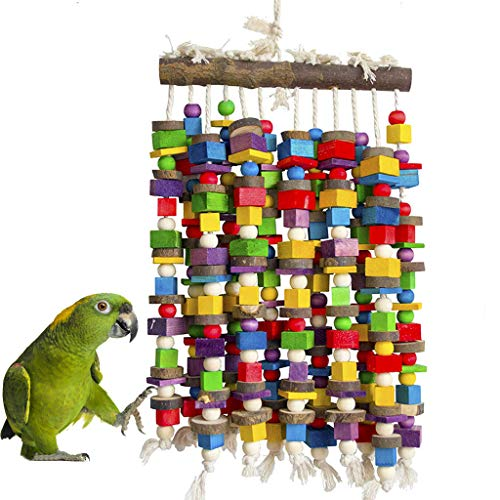 MQ Bird Chewing Toys Wooden Blocks Bird Toys Parrot Toys for Large and Medium Parrot Cage Bite Toys for African Grey…