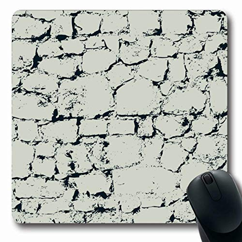 Ahawoso Mousepads Fence Gray Slate Grey Stone Wall Antique Border Brick Built Design Gravel Oblong Shape 7.9 x 9.5 Inches Non-Slip Gaming Mouse Pad Rubber Oblong Mat