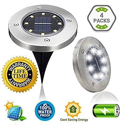 SLK GREEN Upgraded 8 LED Solar Power Waterproof Landscape Garden/Yard/Garage/Patio Light For Outdoor Path Way Garden, Walkway Cool White Light (4 Pack included)