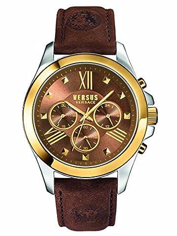 Versus by Versace Men's SBH030015 Chrono Lion Analog Display Quartz Brown Watch (Gold Versus Watches For Men)