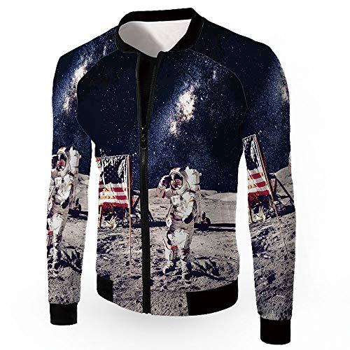 Stand Neck Jacket,Galaxy,Men's Zip-up Lightweight Windbreaker College Jacket,AME