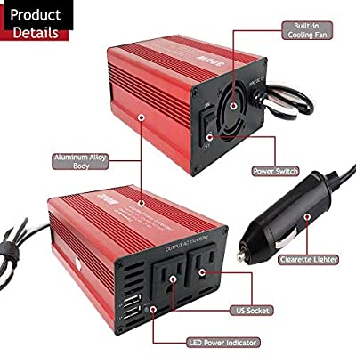 CARBONLAND Power-Inverter 300W DC 12V to 110V AC Car Adapter with Dual USB 4.2A Converter: Automotive