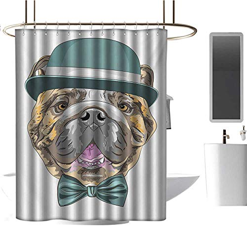 Camper Shower Curtain English Bulldog,Dog in a Hat and Bow Tie Animal Design with Formal Attire Pure Breed,Teal Brown Pink,for Bathroom Showers, Stalls and Bathtubs 47