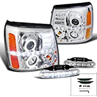 Escalade Chrome R8 Style Halo Projector Headlights+LED DRL Fog Bumper Lamps