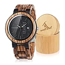 BOBO Bird Week and Date Multi-Functional Display Mens Zebra Wooden Quartz Watch Lightweight Handmade Casual Wristwatches with Gift Box