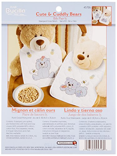 Bucilla Stamped Cross Stitch Bib Pair Kit, 9 by 14-Inch, 45726 Cute & Cuddly Bear (Set of (Cudly Bear)