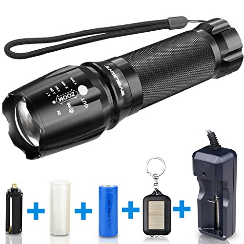 Tactical Flashlight, 800 Lumens BYBLIGHT Zoomable Flashlight, Rechargeable Cree Led Flashlight with AC Charger and 26650 Battery, Bouns Solar Power Keychain Flash Light (Bright Solar Flashlight)