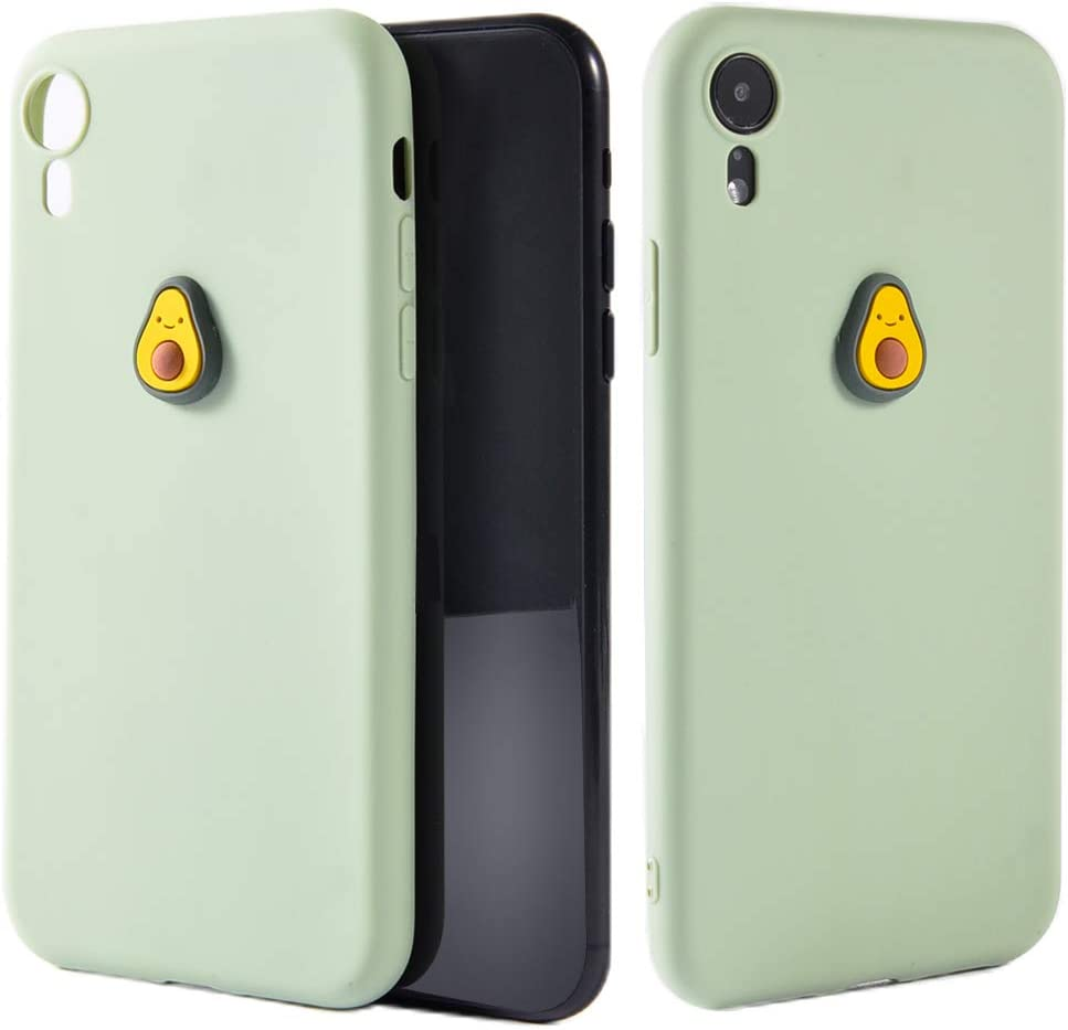 JOYLAND Lovely 3D Fruit Case for iPhone XR Case Cute Avocado Cartoon Pattern Green TPU Phone Cover Flexible Soft Bumper Case for iPhone XR