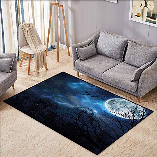 Bedroom Rug,Halloween Bats Flying in Majestic Night Sky Moon Nebula Mystery Leafless Trees Forest,Ideal Gift for Children,3'11