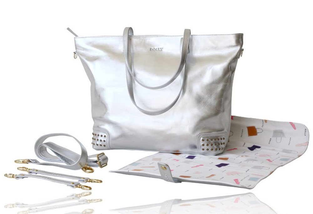 DOLLY by Le Petit Tom Diaper Bag, Italian Made, Chic, Luxurious Leather Silver by b. baby boutique B00ULP3UF6