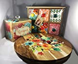 The Pioneer Woman Willow 12-Inch Lazy Susan + Flea Market 6-Drawer Spice/Tea Box + Blossom Jubilee 6.2-Inch Recipe Box Bundle   Perfect Christmas Gift For Her
