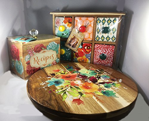 The Pioneer Woman Willow 12-Inch Lazy Susan + Flea Market 6-Drawer Spice/Tea Box + Blossom Jubilee 6.2-Inch Recipe Box Bundle | Perfect Christmas Gift For Her by TF LLC