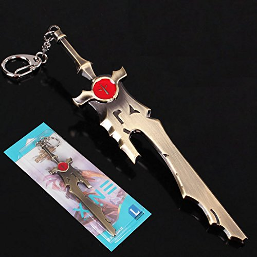 6 Inch Length League of Legends LOL Game the Bunny Riven Weapon Broken Sword Large Size Metal Pendant Key Ring Keychain in Box