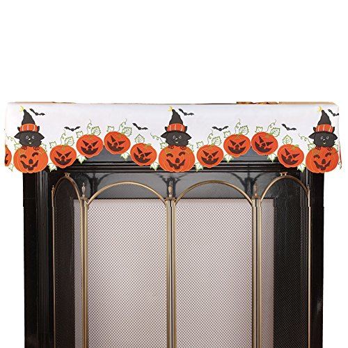 Collections Etc Halloween Black Cats & Pumpkins Mantel Scarf for $<!--$7.97-->
