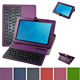 Mama Mouth Coustom Design Slim Stand PU Leather Case Cover with Romovable Bluetooth Keyboard for New Dell Venue 10 5050 Android Tablet/Venue 10 Pro 5055 Windows Tablet,Purple