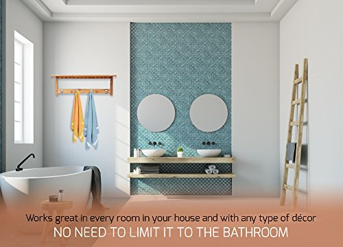 ToiletTree Products 100% Bamboo Wooden Natural Shelf with 4 Stainless Steel Hooks by ToiletTree Products (Image #5)