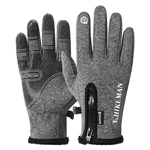 Fine Non-Slip Winter Gloves,Suitable for Indoor and Outdoor Sports, Short-Distance Cycling, Driving, Gardening, Mountain Bike Riding, Gloves for Men and Women (Gray, L2) (Skids Ski Gloves)