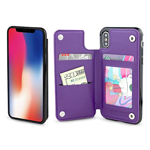 Gear Beast Lychee PU Leather Protective Top View Slim Wallet Case Fits iPhone Xs/X Includes Flip Folio Cover, with Three Card Slots Including Transparent ID Holder