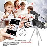 Camcorder Digital Video Camera, WiFi Vlog Camera Camcorder with Microphone IR Night Vision Full HD 1080P 30FPS 3 LCD Touch Screen Vlogging Camera for YouTube with Remote Control