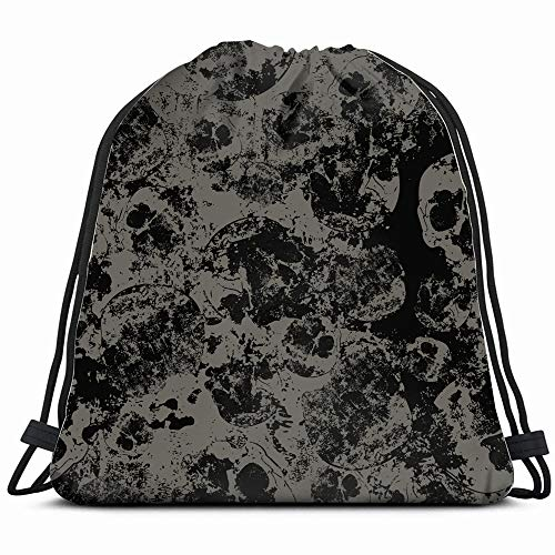 (Faded Skulls Abstract Skull Drawstring Backpack Bag Sackpack Gym Sack Sport Beach Daypack For Girls Men & Women Teen Dance Bag Cycling Hiking Team)
